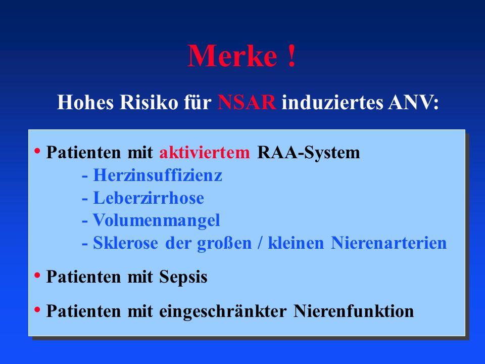 Merke ! Hohes Risiko für NSAR induziertes ANV: