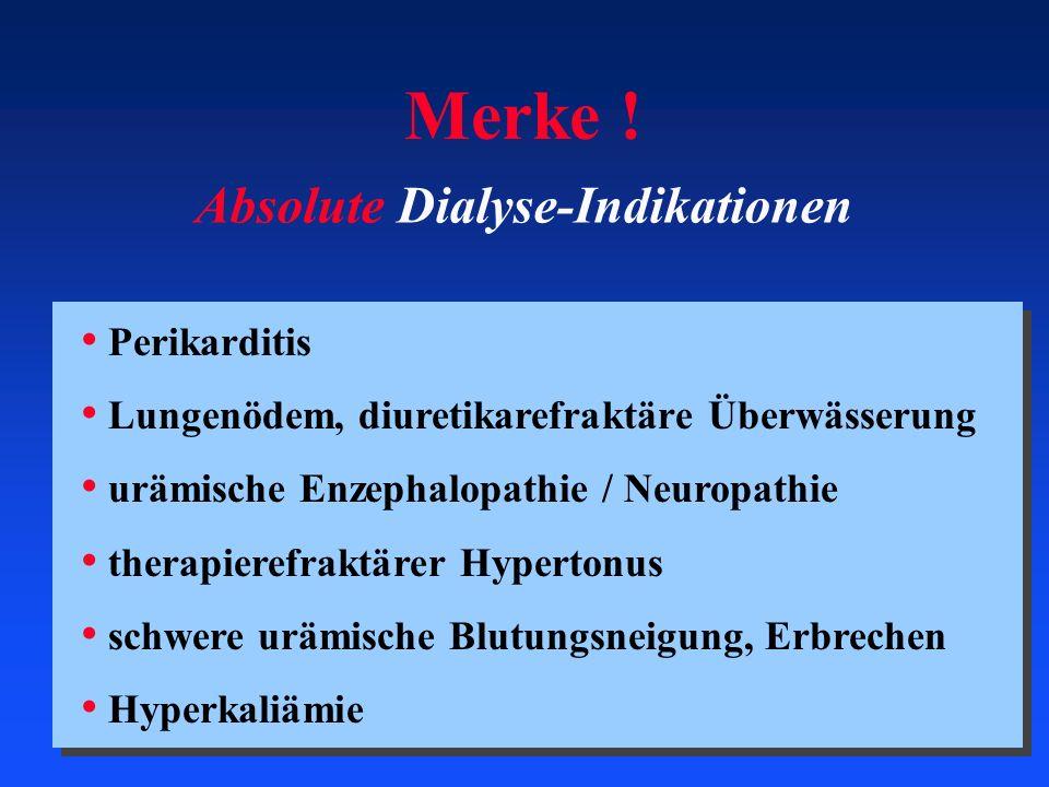 Merke ! Absolute Dialyse-Indikationen Perikarditis