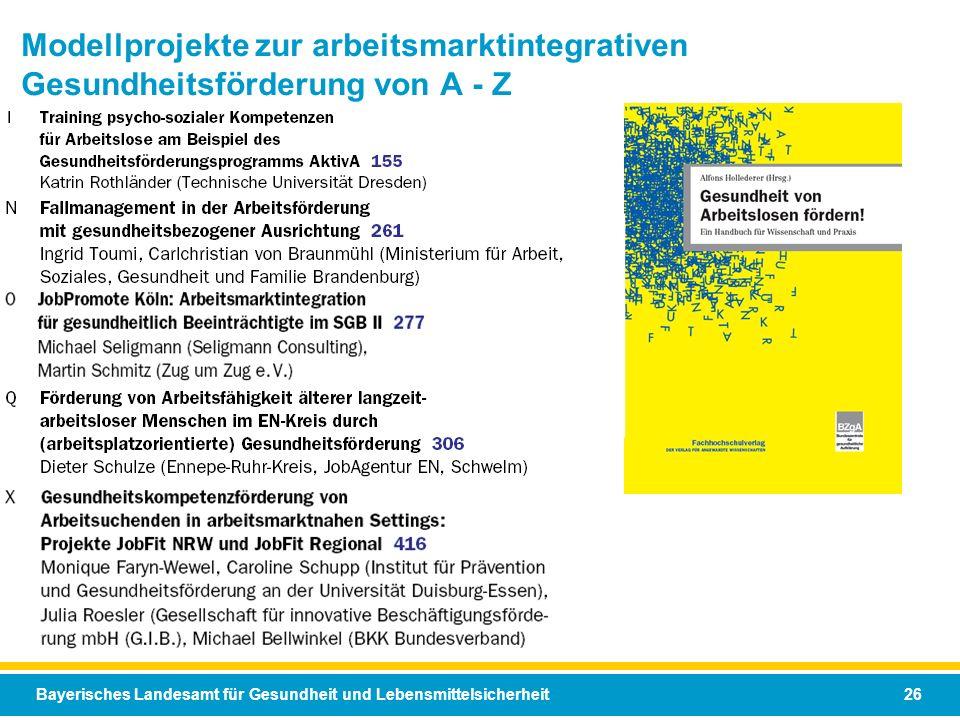 Modellprojekte zur arbeitsmarktintegrativen Gesundheitsförderung von A - Z