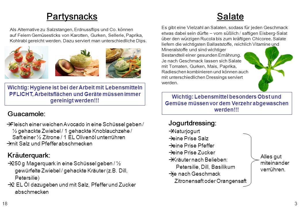 Partysnacks Salate Guacamole: Jogurtdressing: Kräuterquark: