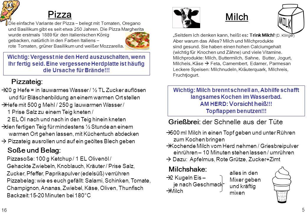 Pizza Milch Pizzateig: Grießbrei: der Schnelle aus der Tüte