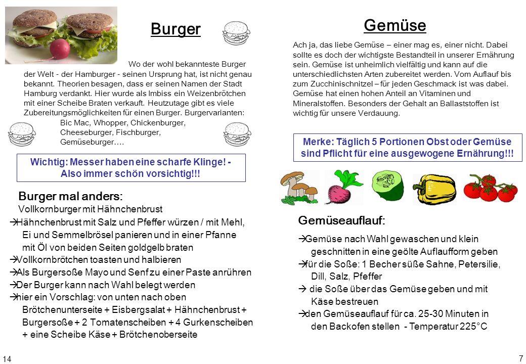 Gemüse Burger Burger mal anders: Gemüseauflauf: