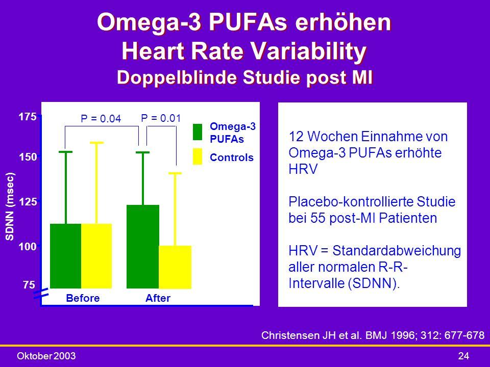 Omega-3 PUFAs erhöhen Heart Rate Variability Doppelblinde Studie post MI