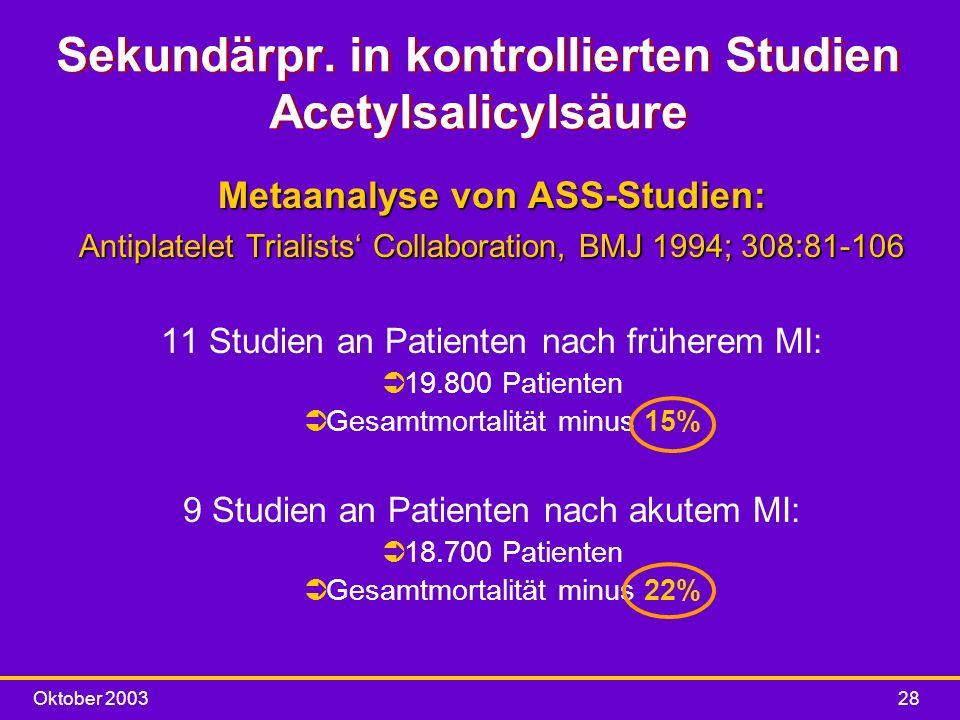 Sekundärpr. in kontrollierten Studien Acetylsalicylsäure