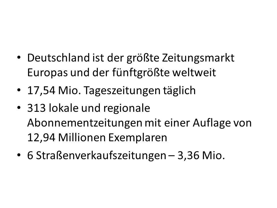 Deutschland ist der größte Zeitungsmarkt Europas und der fünftgrößte weltweit