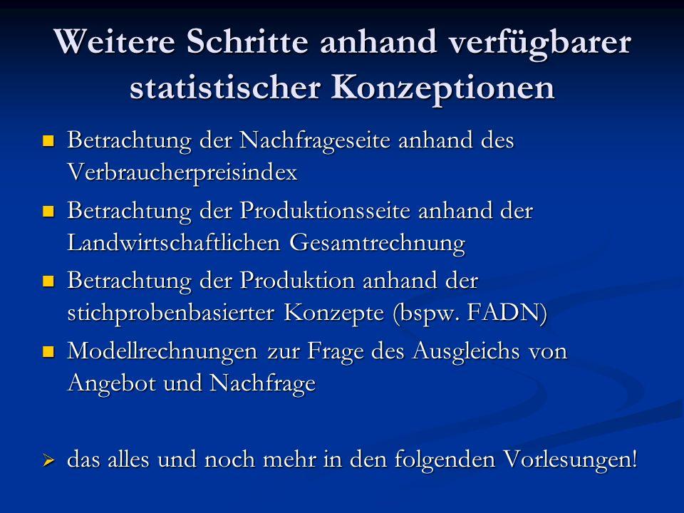 Weitere Schritte anhand verfügbarer statistischer Konzeptionen