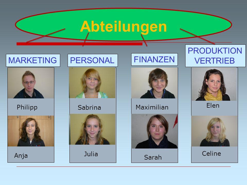 Abteilungen PRODUKTION VERTRIEB MARKETING PERSONAL FINANZEN Elen