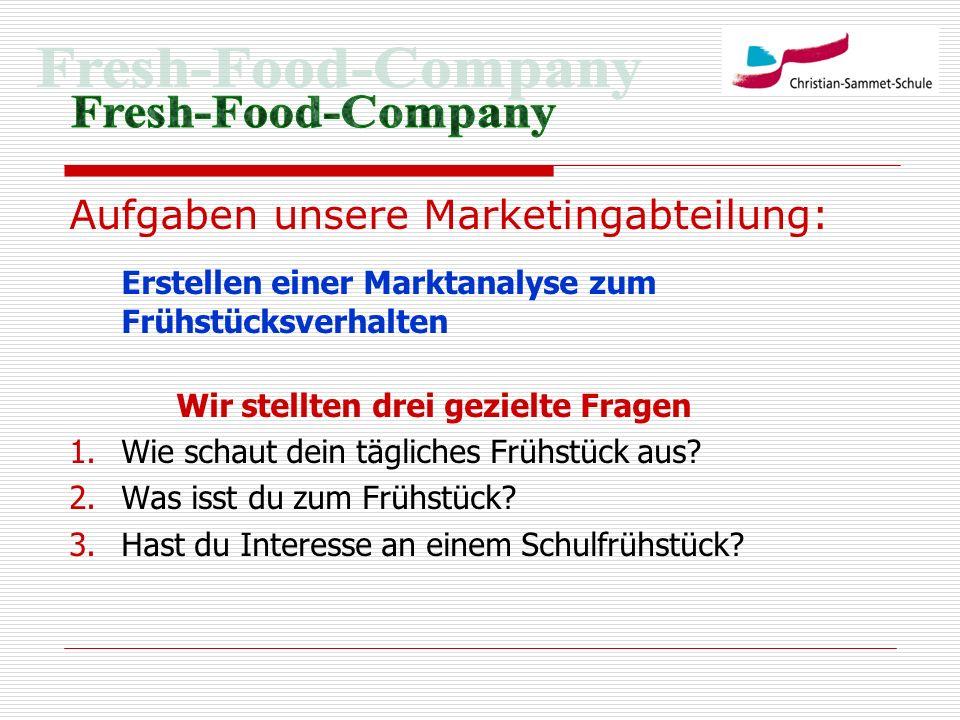 Fresh-Food-Company Aufgaben unsere Marketingabteilung: Erstellen einer Marktanalyse zum Frühstücksverhalten.