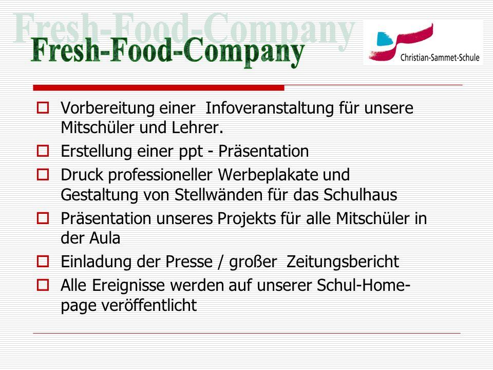 Fresh-Food-Company Vorbereitung einer Infoveranstaltung für unsere Mitschüler und Lehrer. Erstellung einer ppt - Präsentation.