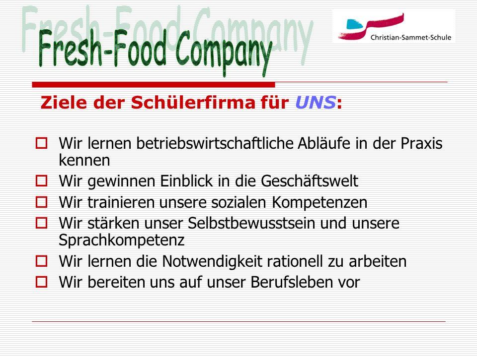 Fresh-Food Company Ziele der Schülerfirma für UNS: