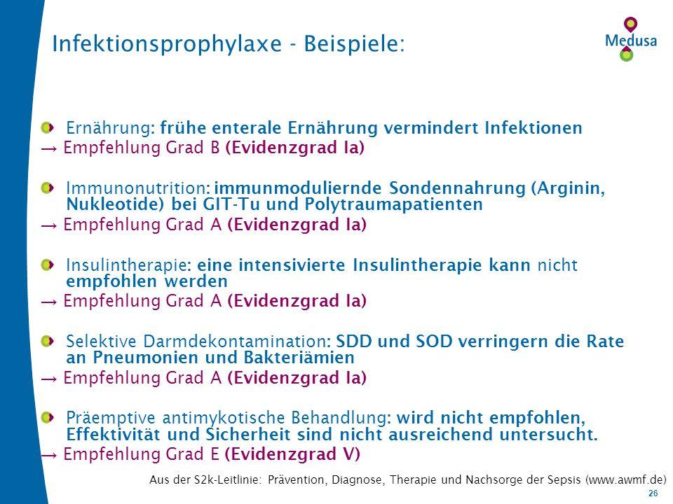 Infektionsprophylaxe - Beispiele: