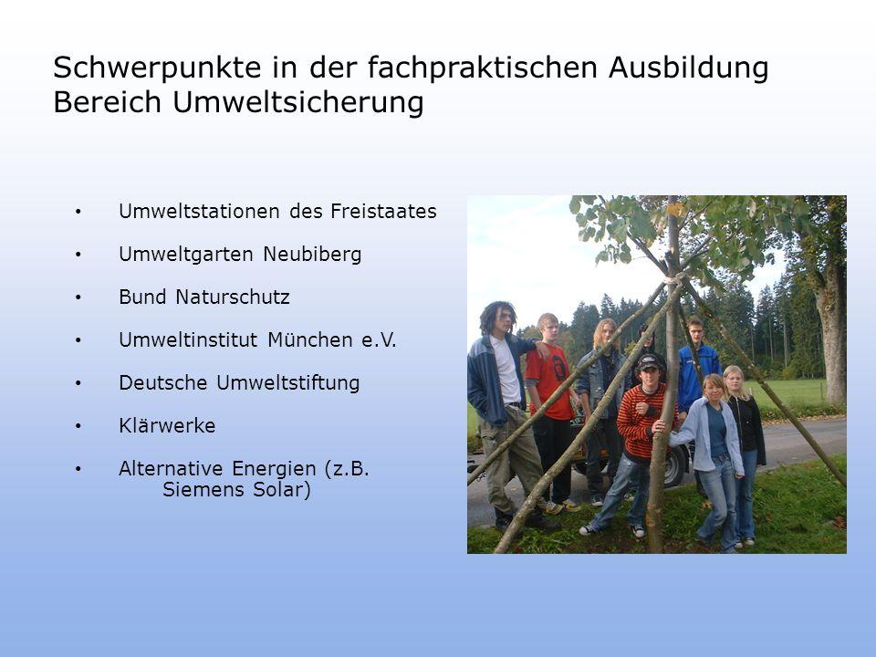 Schwerpunkte in der fachpraktischen Ausbildung Bereich Umweltsicherung