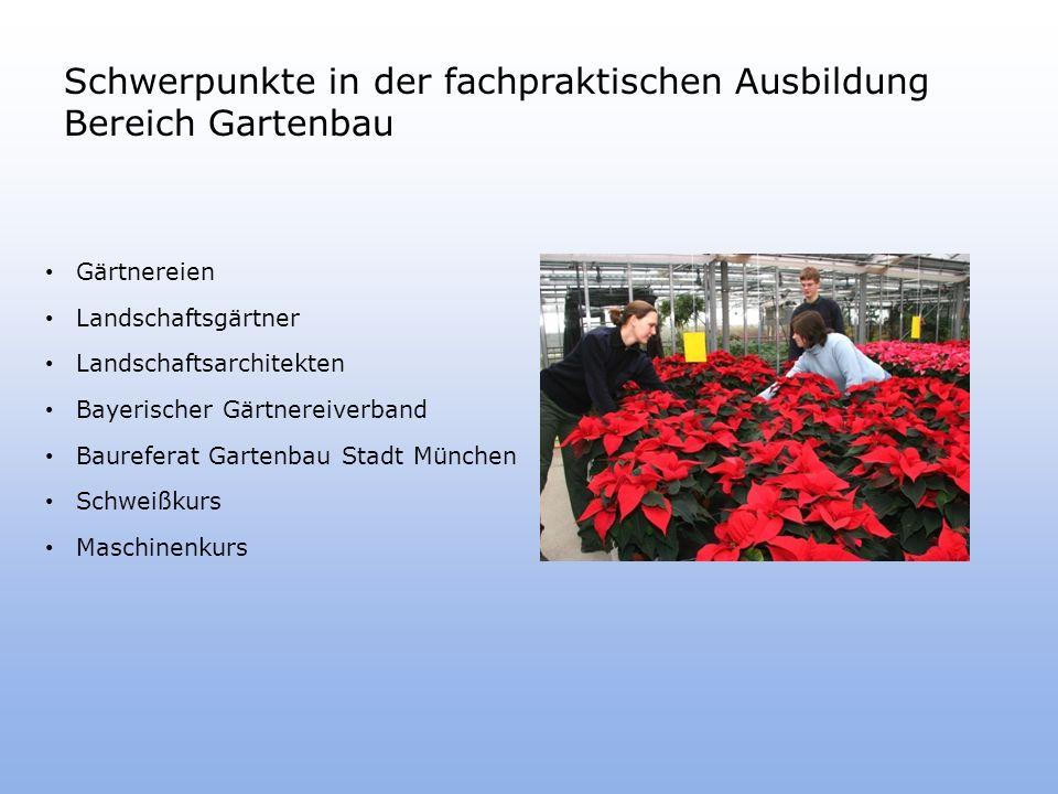 Schwerpunkte in der fachpraktischen Ausbildung Bereich Gartenbau