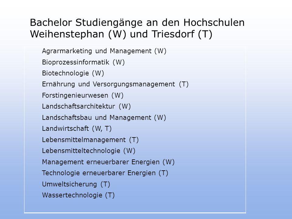 Bachelor Studiengänge an den Hochschulen Weihenstephan (W) und Triesdorf (T)