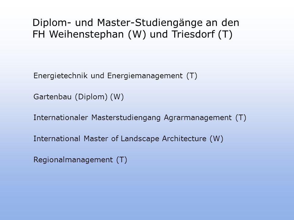 Diplom- und Master-Studiengänge an den FH Weihenstephan (W) und Triesdorf (T)