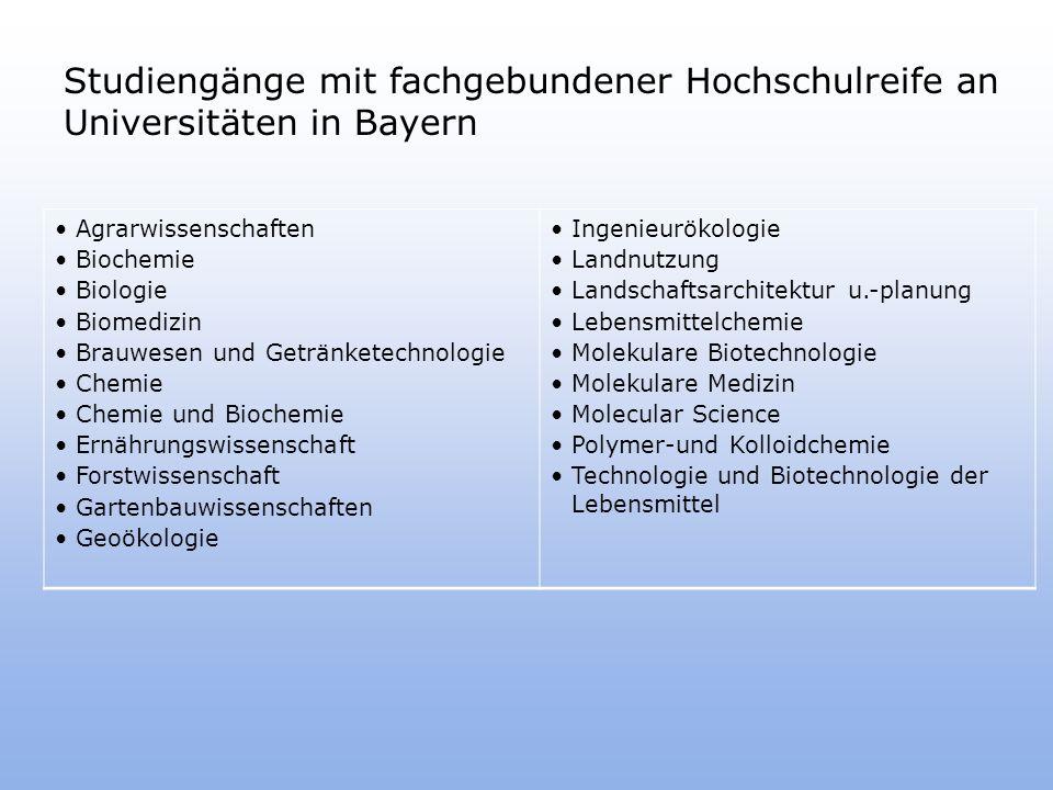 Studiengänge mit fachgebundener Hochschulreife an Universitäten in Bayern
