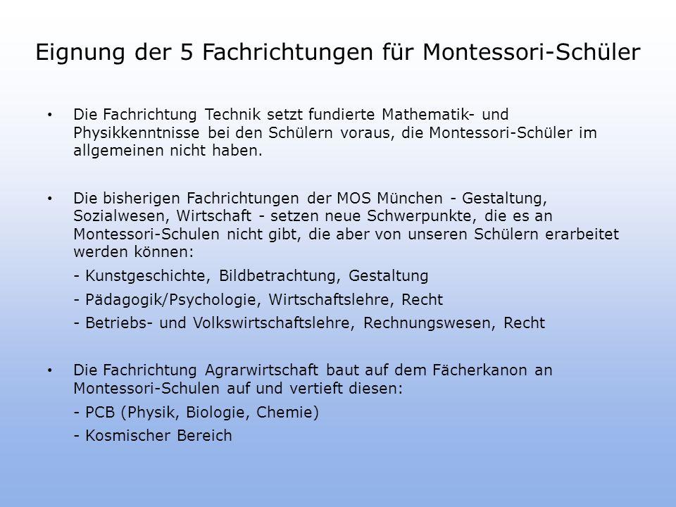 Eignung der 5 Fachrichtungen für Montessori-Schüler