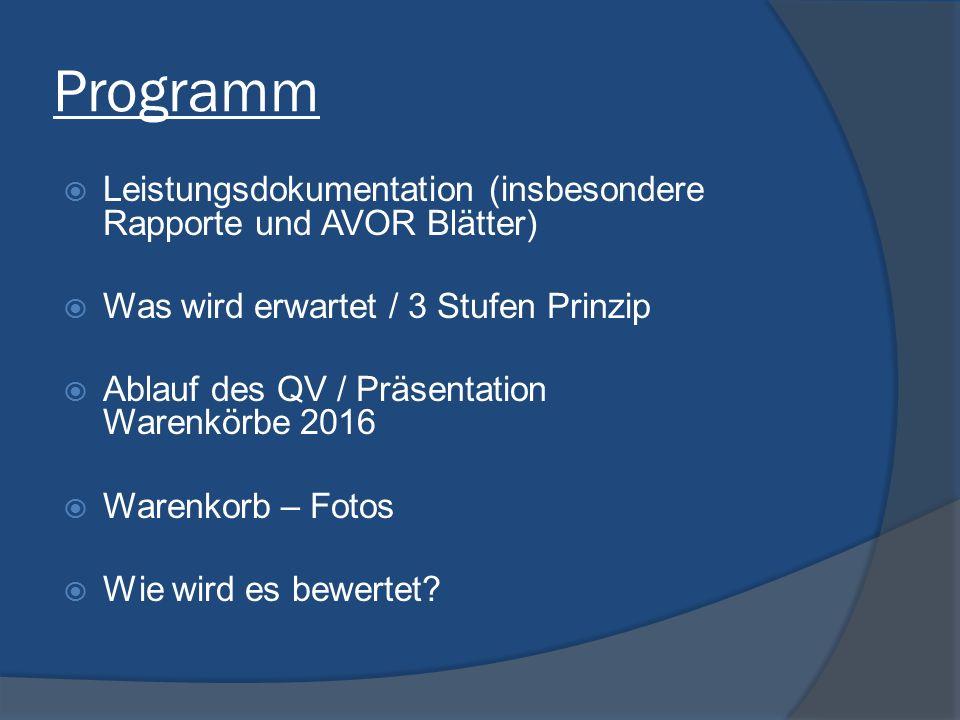 Programm Leistungsdokumentation (insbesondere Rapporte und AVOR Blätter) Was wird erwartet / 3 Stufen Prinzip.