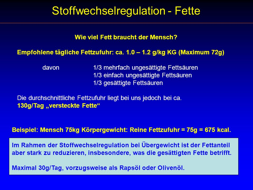 Stoffwechselregulation - Fette
