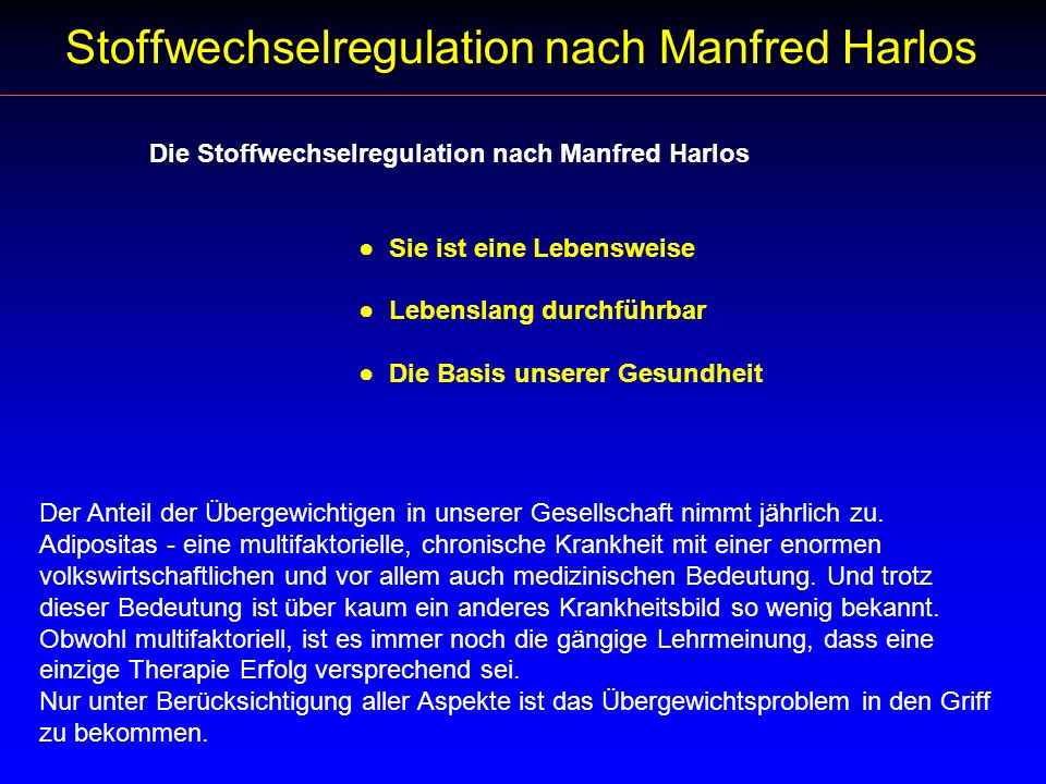 Stoffwechselregulation nach Manfred Harlos