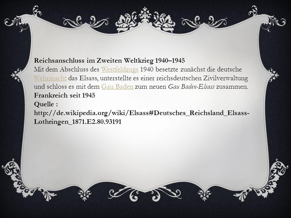 Reichsanschluss im Zweiten Weltkrieg 1940–1945