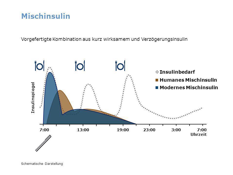 MischinsulinVorgefertigte Kombination aus kurz wirksamem und Verzögerungsinsulin. Insulinbedarf. Humanes Mischinsulin.