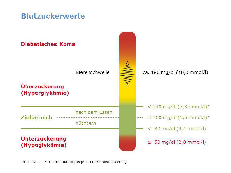 Blutzuckerwerte Diabetisches Koma Überzuckerung (Hyperglykämie)