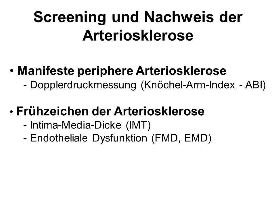 Screening und Nachweis der Arteriosklerose