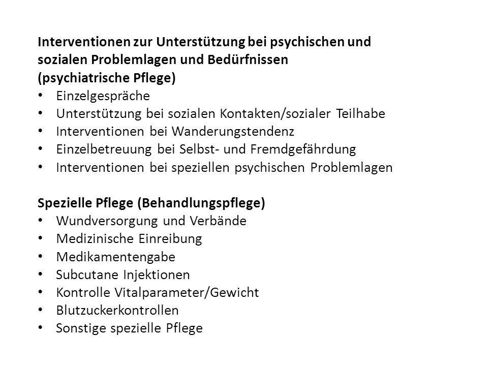Interventionen zur Unterstützung bei psychischen und
