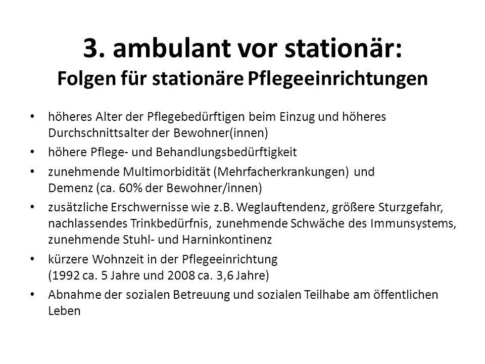 3. ambulant vor stationär: Folgen für stationäre Pflegeeinrichtungen