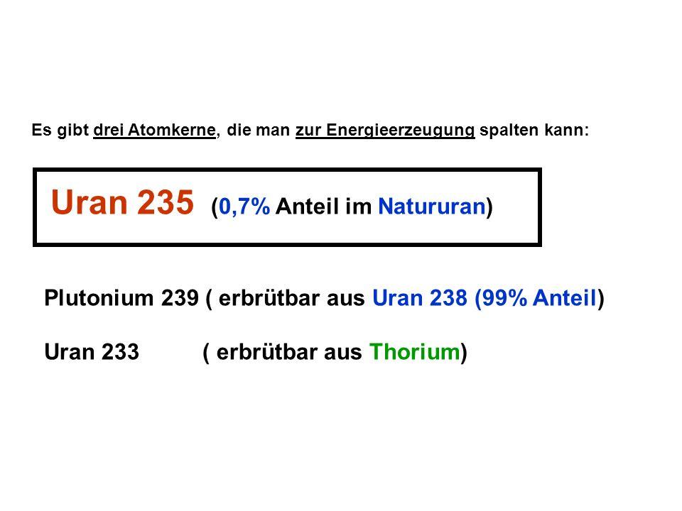 Plutonium 239 ( erbrütbar aus Uran 238 (99% Anteil)