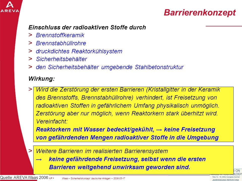 Barrierenkonzept Einschluss der radioaktiven Stoffe durch