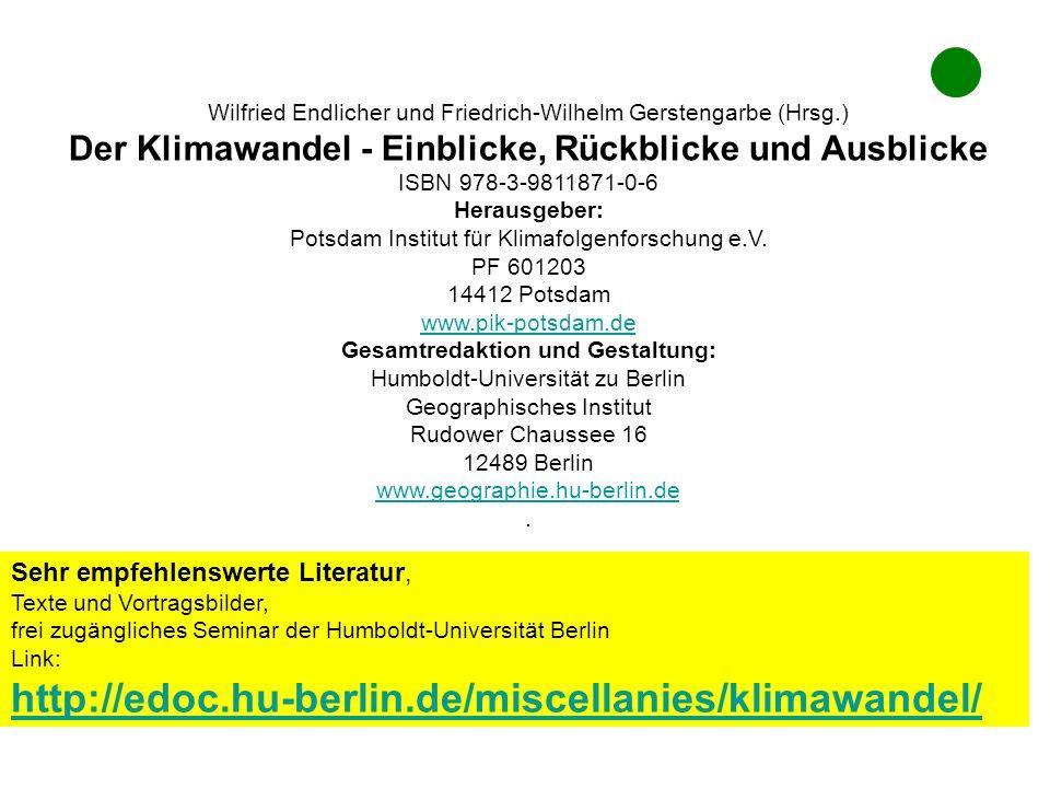 Wilfried Endlicher und Friedrich-Wilhelm Gerstengarbe (Hrsg