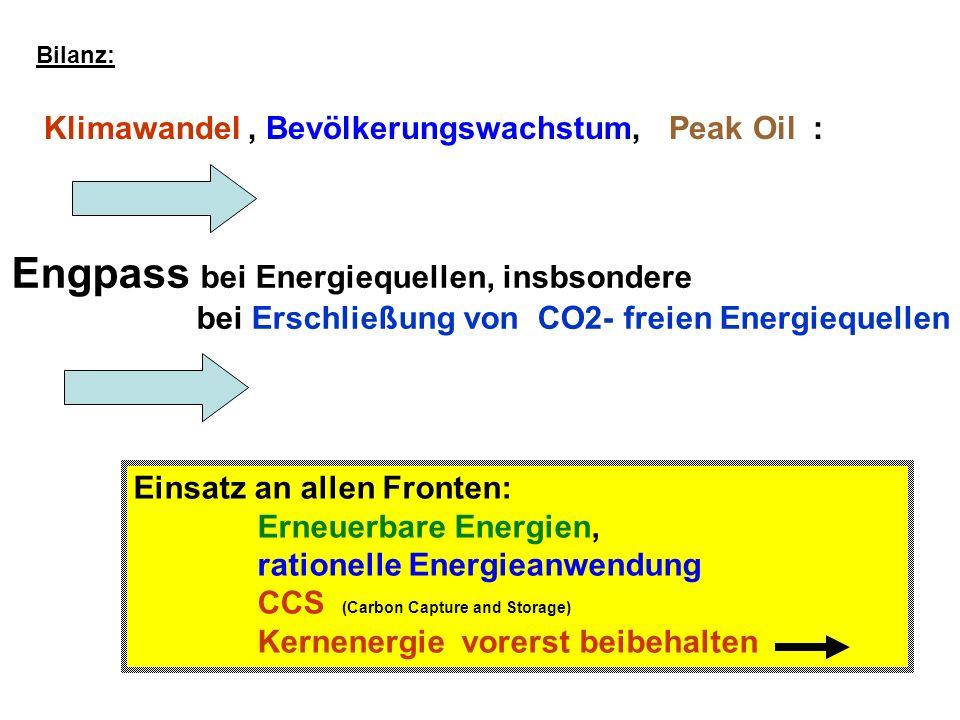 Engpass bei Energiequellen, insbsondere