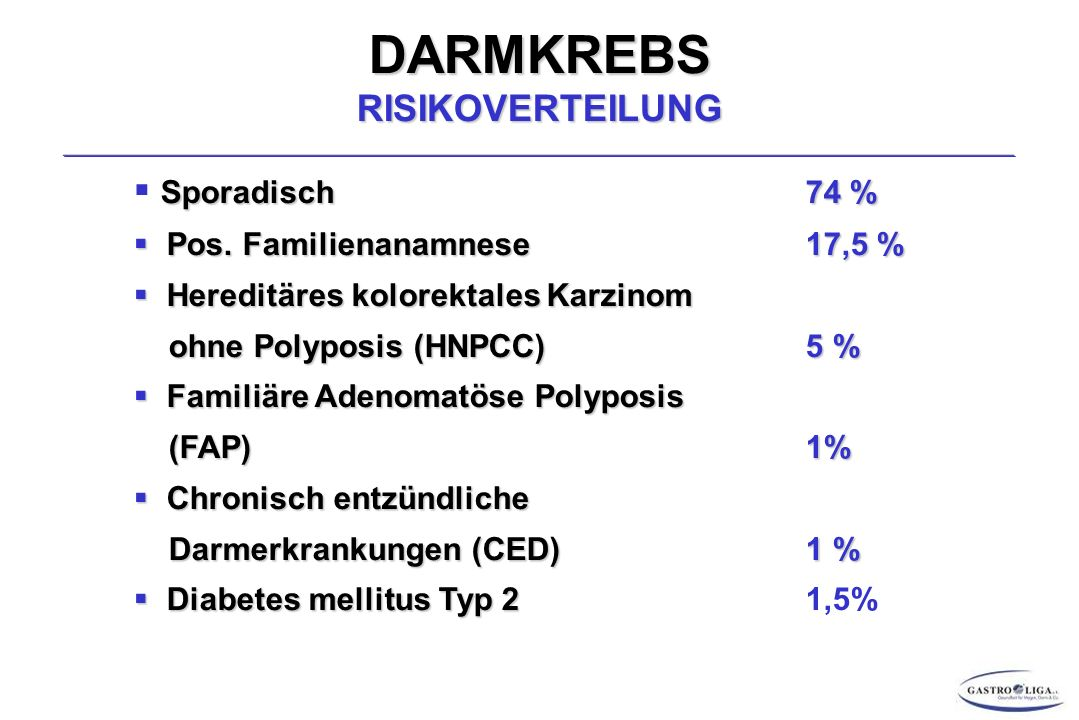 DARMKREBS RISIKOVERTEILUNG
