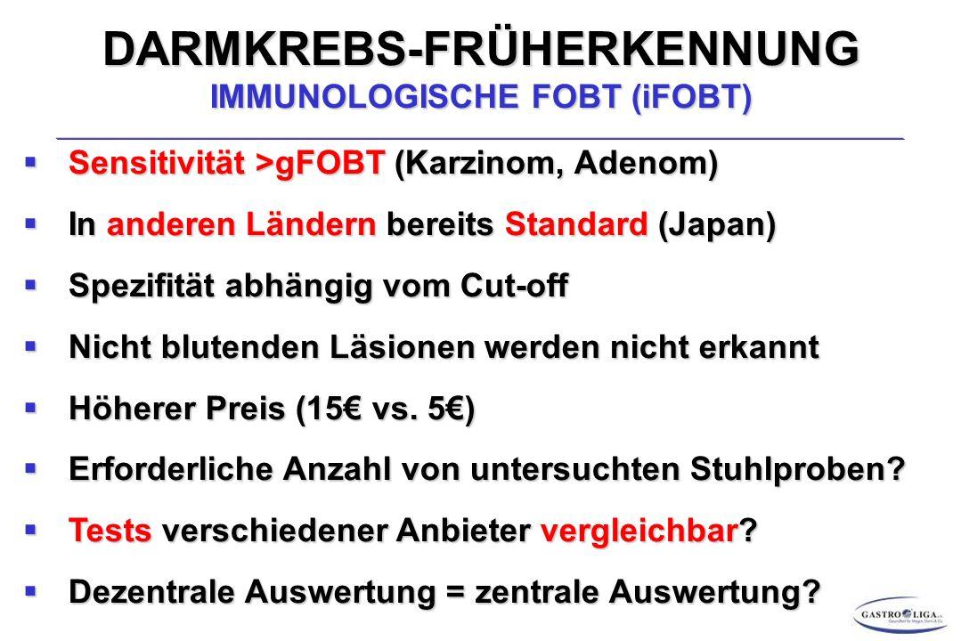 DARMKREBS-FRÜHERKENNUNG IMMUNOLOGISCHE FOBT (iFOBT)