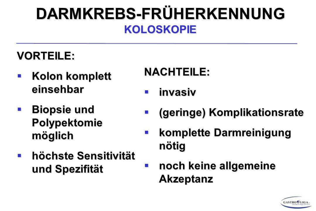 DARMKREBS-FRÜHERKENNUNG KOLOSKOPIE
