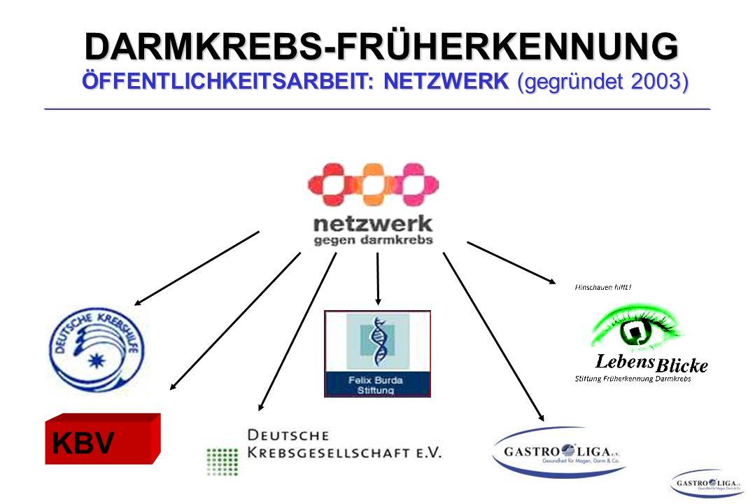 DARMKREBS-FRÜHERKENNUNG ÖFFENTLICHKEITSARBEIT: NETZWERK (gegründet 2003)