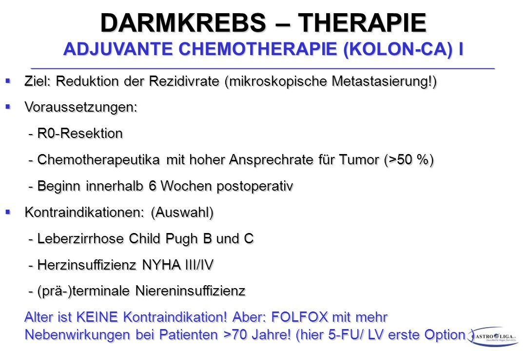 DARMKREBS – THERAPIE ADJUVANTE CHEMOTHERAPIE (KOLON-CA) I