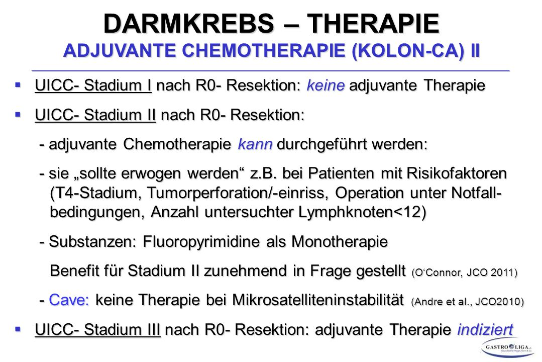 DARMKREBS – THERAPIE ADJUVANTE CHEMOTHERAPIE (KOLON-CA) II