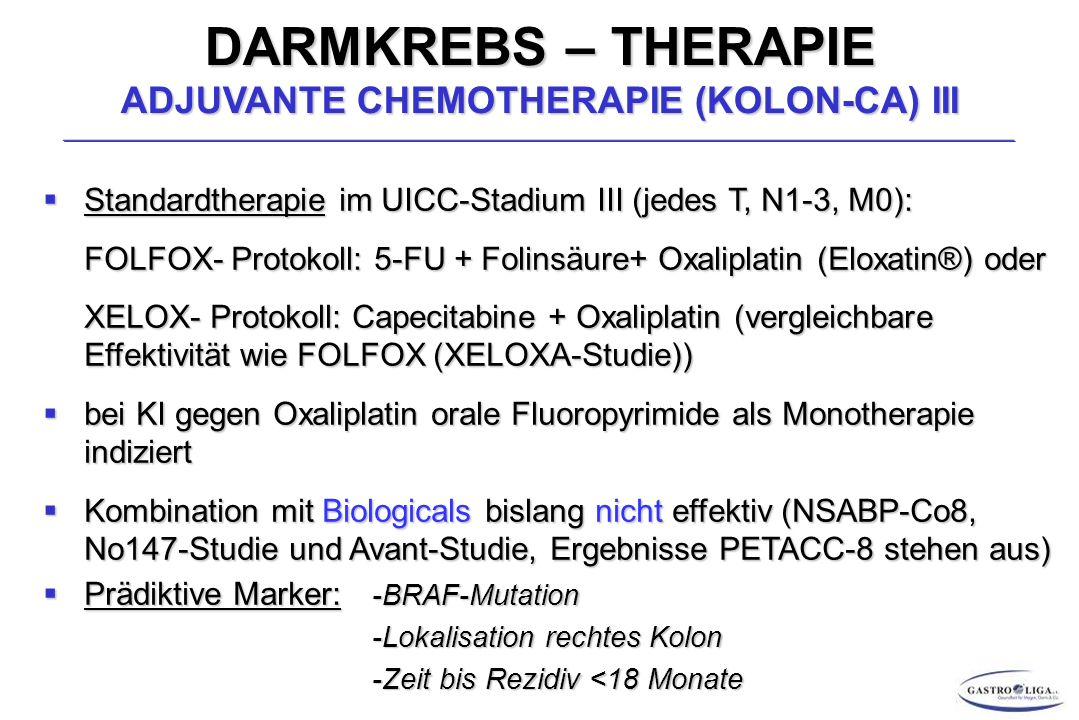DARMKREBS – THERAPIE ADJUVANTE CHEMOTHERAPIE (KOLON-CA) III