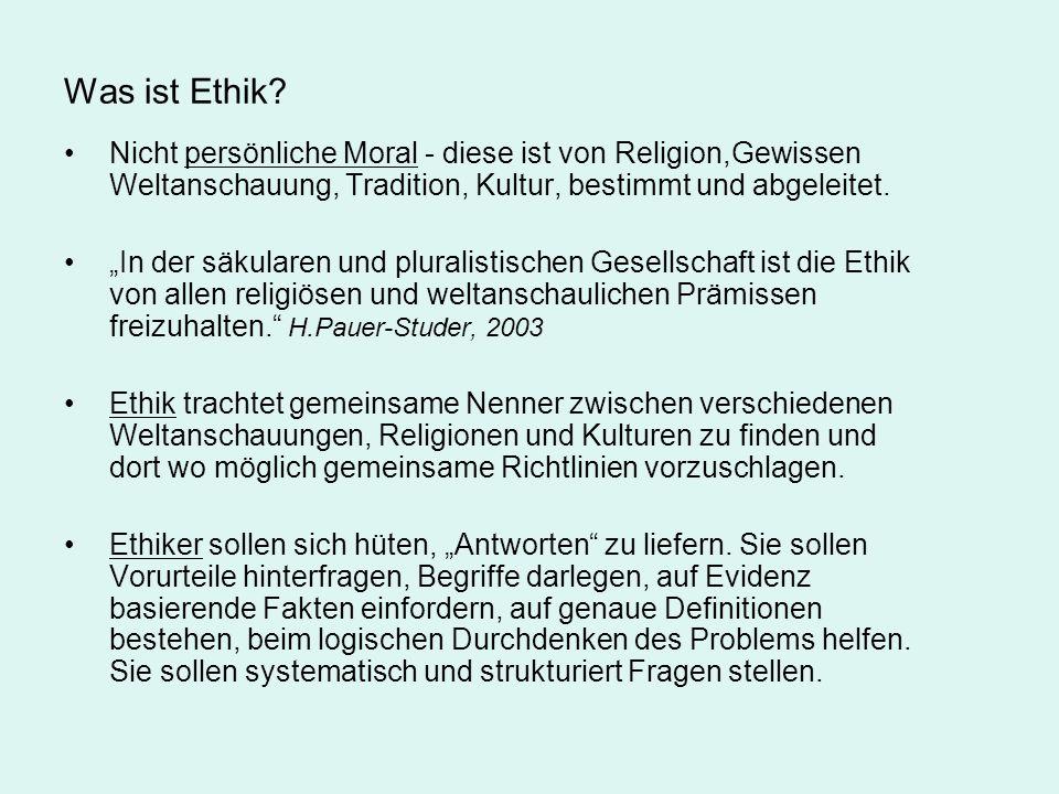 Was ist Ethik Nicht persönliche Moral - diese ist von Religion,Gewissen Weltanschauung, Tradition, Kultur, bestimmt und abgeleitet.