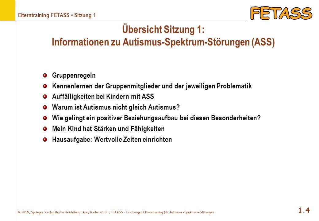Übersicht Sitzung 1: Informationen zu Autismus-Spektrum-Störungen (ASS)