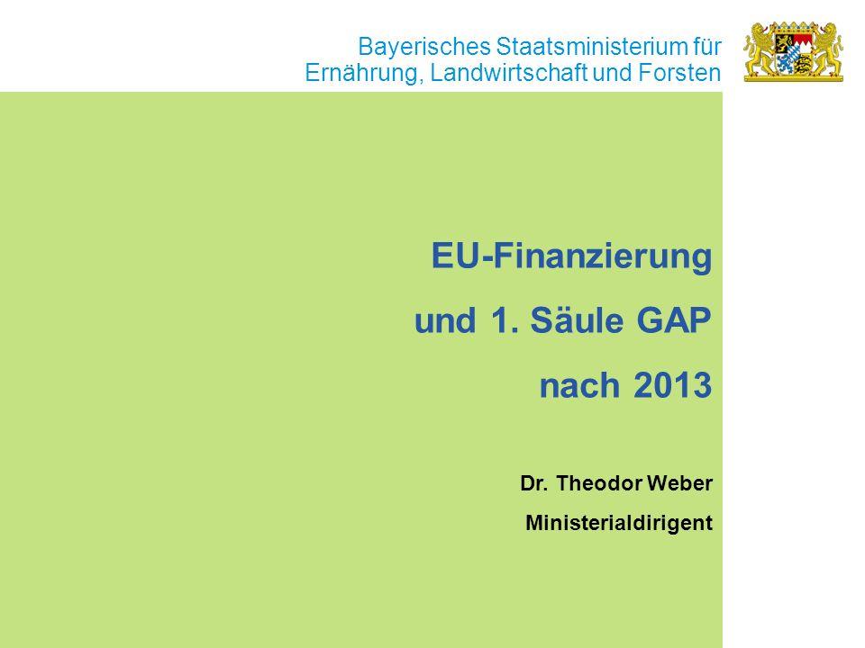 EU-Finanzierung und 1. Säule GAP nach 2013 Dr. Theodor Weber