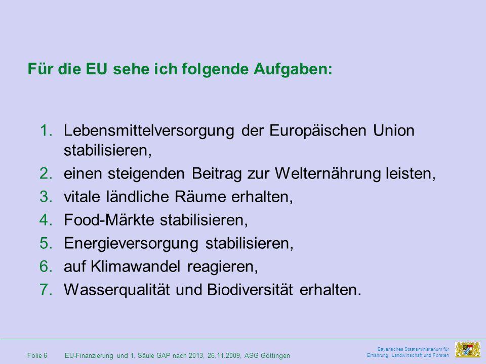 Für die EU sehe ich folgende Aufgaben: