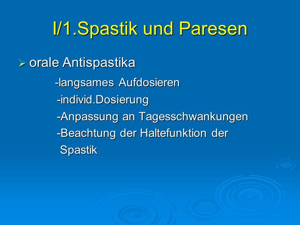 I/1.Spastik und Paresen orale Antispastika -langsames Aufdosieren