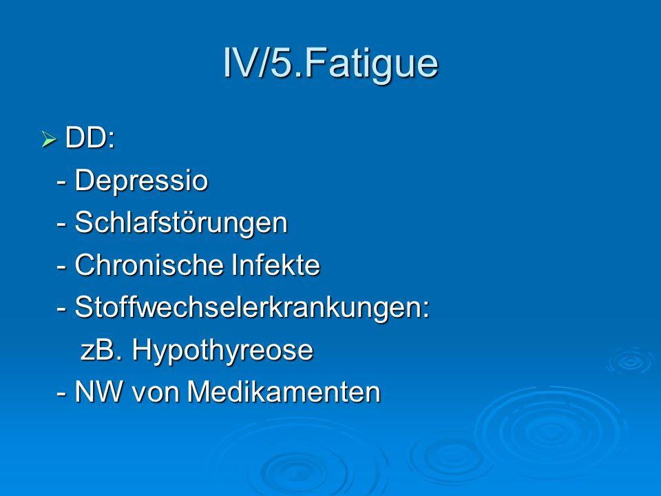 IV/5.Fatigue DD: - Depressio - Schlafstörungen - Chronische Infekte