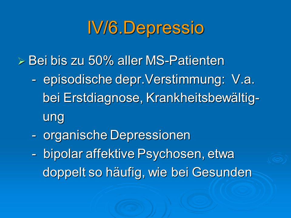 IV/6.Depressio Bei bis zu 50% aller MS-Patienten