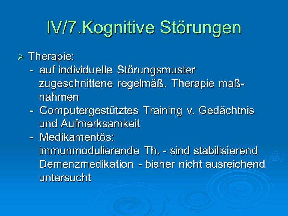 IV/7.Kognitive Störungen