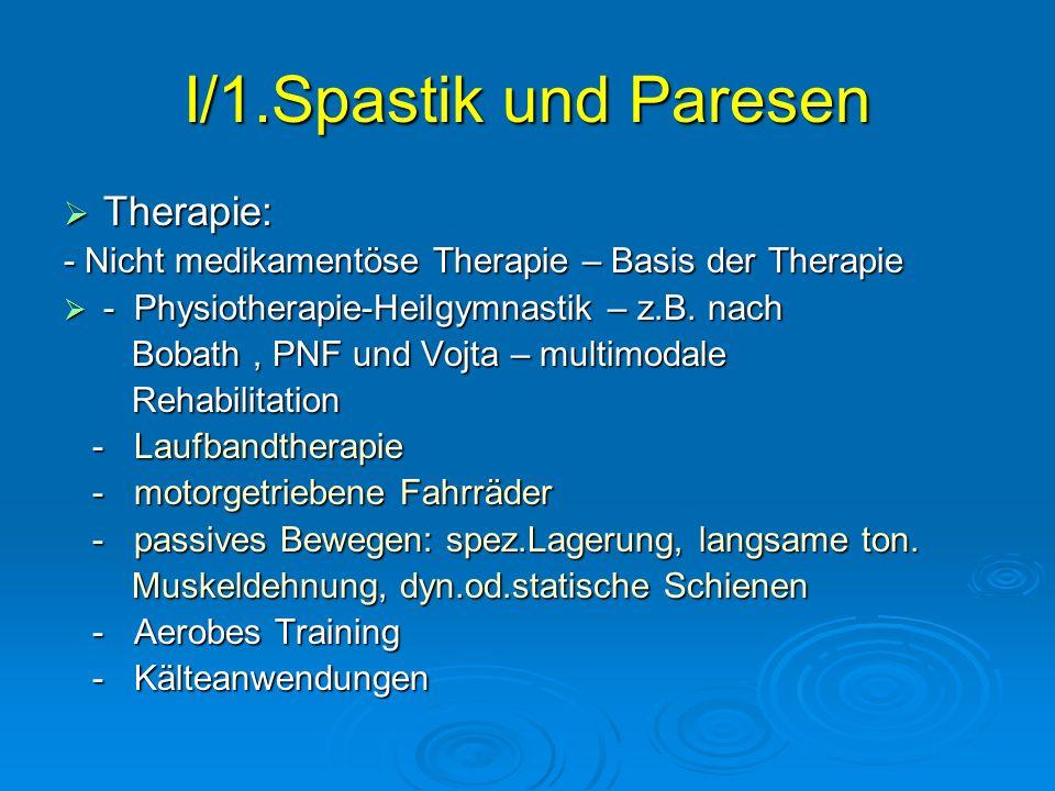 I/1.Spastik und Paresen Therapie: